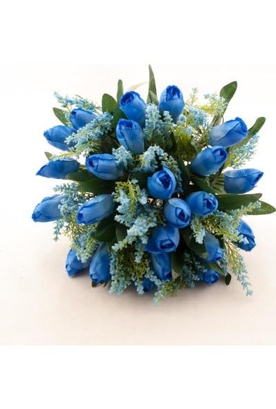 Benim Kınam Lacivert Lavantalı Lale Gelin Çiçeği Buketi ve Yaka Çiçeği Hediyeli