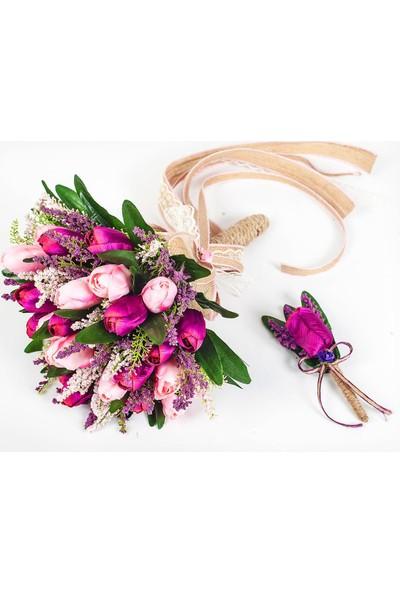 Benim Kınam Mor Pembe Lavantalı Lale Gelin Çiçeği Buketi ve Yaka Çiçeği