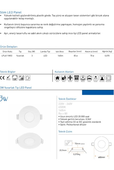 Panasonic 3W LED Panel Spot Sıva Altı Armatür