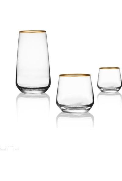 Lav 18 Parça Gold Su Bardağı Seti