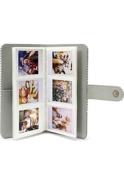 Fujifilm Instax Çizgili Mini Film Uyumlu Gri 108'Lı Dikdörtgen Albüm