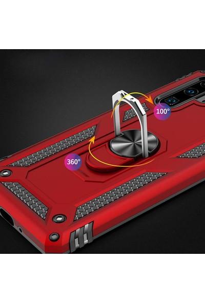 Microsonic Huawei P30 Pro Kılıf Military Ring Holder Kırmızı