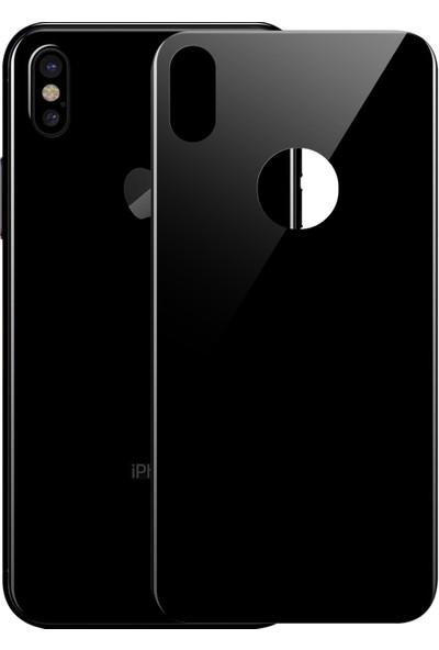 Microsonic Apple iPhone Xs Arka Tam Kaplayan Temperli Cam Koruyucu Siyah