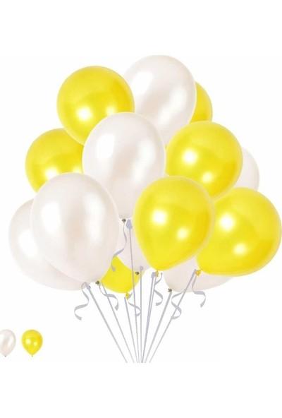 Happy Land 15 Sarı 15 Beyaz Konsept Balonlar Metalik Parlak 30-35 cm