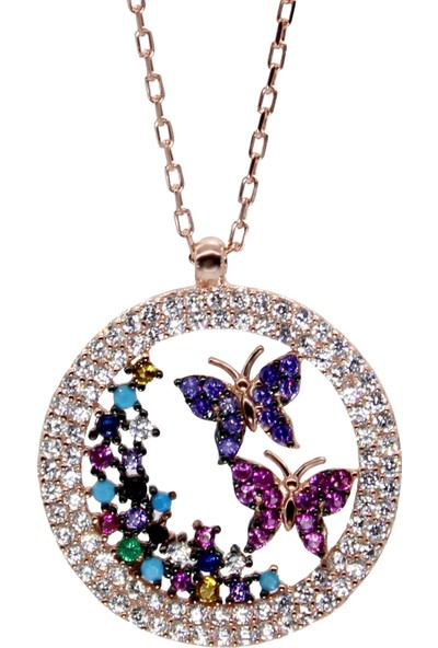 Minamis Silver 925 Ayar Kelebeklerin Dünyası Bayan Gümüş Kolye