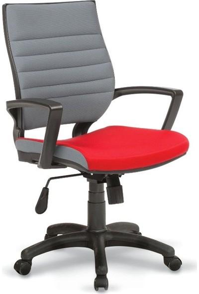 Asbir Rigel 55100 Çalışma Koltuğu Ofis Koltuğu Çalışma Sandalyesi Gri-Kırmızı