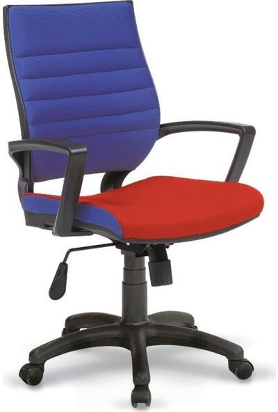 Asbir Rigel 55400 Çalışma Koltuğu Ofis Koltuğu Çalışma Sandalyesi Mavi-Kırmızı
