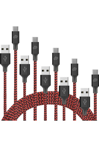 Qspeed USB Type-C Hızlı Şarj ve Data Kablosu Kırmızı/siyah Örgülü 1 mt 5'li Paket