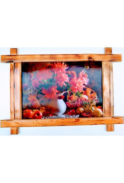 Dostlar Yıldız Çiçeği ve Meyveler Ahşap Tahta Çerçeveli ve 3 Boyutlu 3D Resim