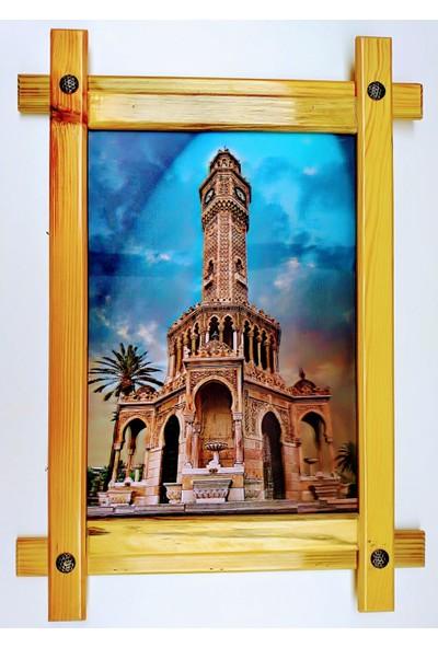 Dostlar İzmir Saat Kulesi Ahşap Tahta Çerçeveli ve 3 Boyutlu 3D Resim