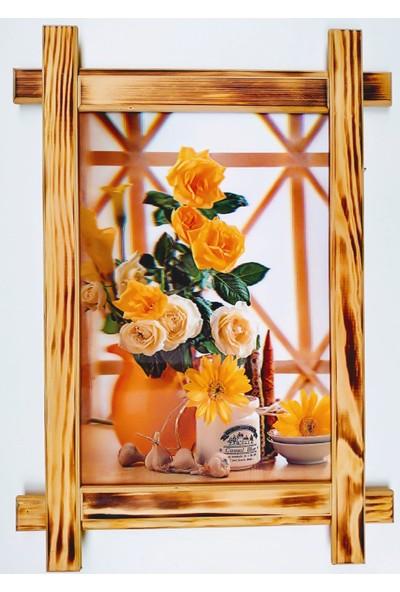 Dostlar Sarı Güller Ahşap Tahta Çerçeveli ve 3 Boyutlu 3D Resim