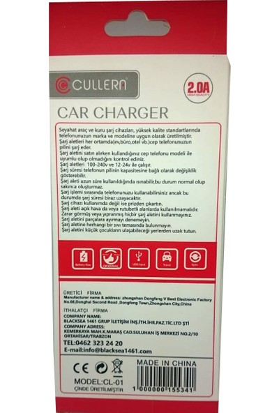 Cullera Smart Car Araç USB Çakmak Adaptörü - 2 Port- 2.0A