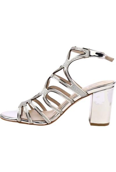 Dgn 453-587 Kadın Slingbacks Abiye Ayakkabı Lame Ayna Sim