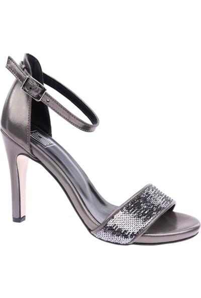 Dgn 1846 Kadın Bilekten Bağlı Topuklu Ayakkabı Platin Saten