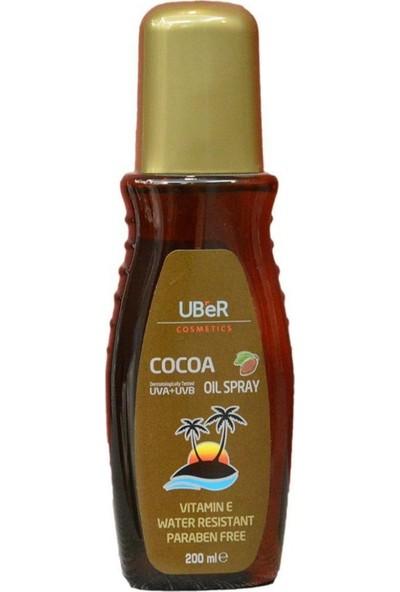 Uber Bronzlaşma Yağı 200 ml Sprey Uber Bronzlaştırıcı Kakao Yağı 200 ml