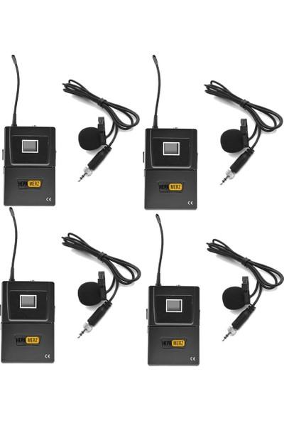 Hepa Merz Hm-8004Y Dijital Uhf 4'Lü Kablosuz Yaka Mikrofonu
