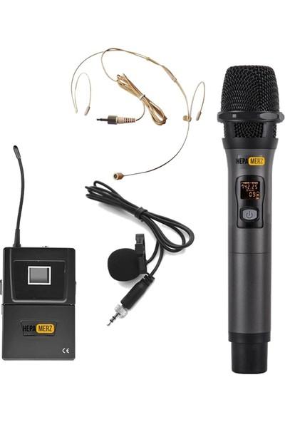 Hepa Merz Hm-8002Eh Uhf Telsiz Kablosuz El + Headset Kafa Mikrofonu