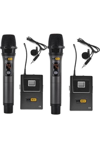 Hepa Merz Hm-8004Ey 4'Lü Kablosuz El Ve Yaka Mikrofonu Seti