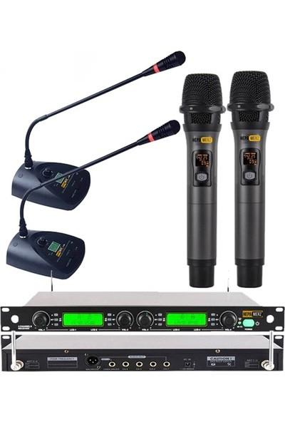 Hepa Merz Hm-8004Em 4'Lü Kablosuz El Ve Masa Kürsü Mikrofonu Seti