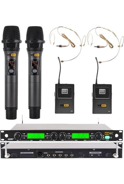 Hepa Merz Hm-8004Eh 4'Lü Kablosuz El Ve Kafa Mikrofonu Seti