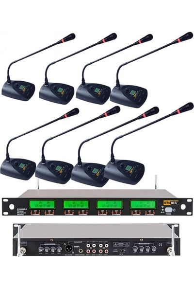 Hepa Merz Hm-8008M Uhf 8'Li Kablosuz Masa Kürsü Mikrofonu Seti