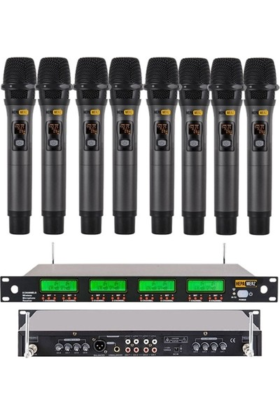 Hepa Merz Hm-8008E Dijital Uhf 8'Li Kablosuz El Mikrofonu Seti