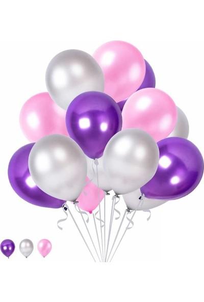 Happyland 10 Mor 10 Gümüş 10 Pembe Konsept Balonlar Metalik Parlak 30-35 cm