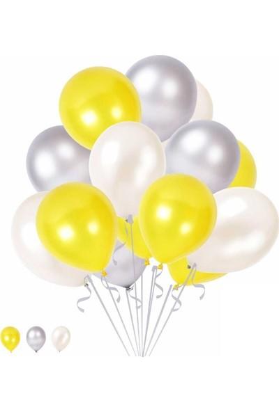 Happyland 10 Sarı 10 Beyaz 10 Gümüş Konsept Balonlar Metalik Parlak 30-35 cm