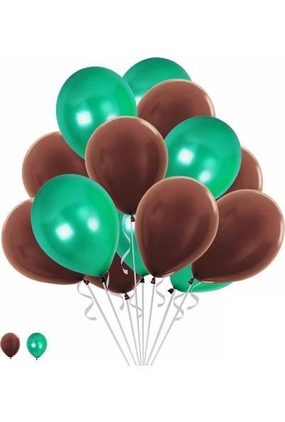 Happyland 15 Mint Yeşili 15 Kahverengi Konsept Balonlar Metalik Parlak ve Mat 30-35 cm