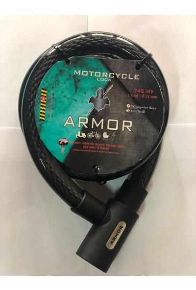 Armor 745Mv 1,5Mt X25Mm Çelik Kablolu Motosiklet Kilidi