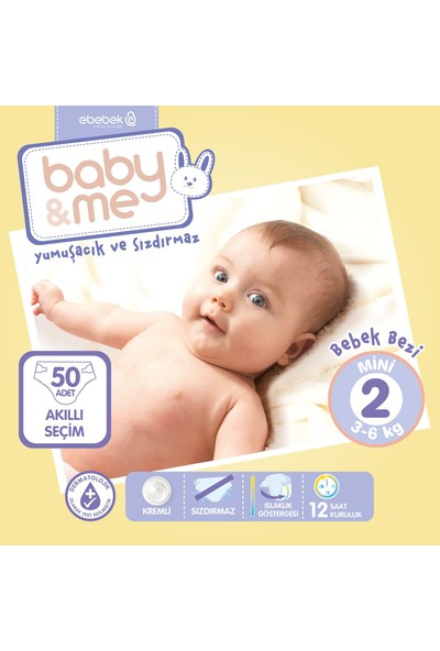 Baby&Me Mini 2 Numara Bebek Bezi 3 - 6 kg 50 Adet