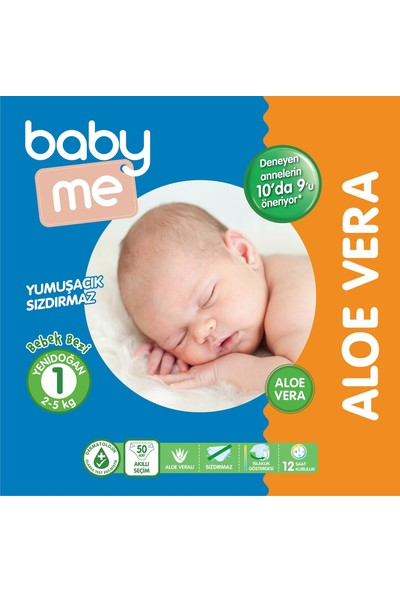 Baby&Me Aloe Vera Yenidoğan 1 Bebek Bezi 2 - 5 kg 50 Adet