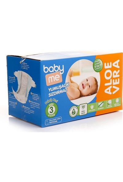 Baby&Me Aloe Vera Midi 3 Numara Bebek Bezi 4 - 9 kg 100 Adet