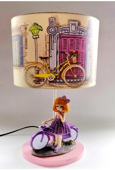 Hediye Fikri Dekoratif Bisikletli Kız Tasarımlı Abajur