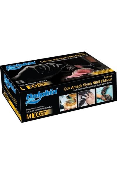 Dolphin Çok Amaçlı Gıdaya Uygun Siyah Nitril Purasız Eldiven 100'lü - Medium