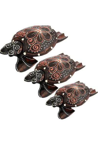 Piramigo Üçlü Ahşap Otantik Kaplumbağa Biblo Takımı
