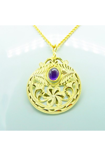 Amelya Gold Abdhmps7 Osmanlı Motifli Ametist Kolye