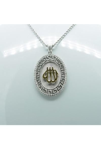 Amelya Gold Afkmpqw7 Beyaz Gümüş Allah Lafzı Kolye