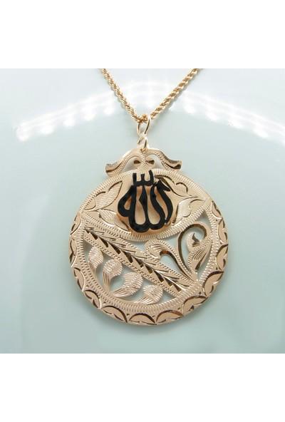 Amelya Gold Belmsvxz Osmanlı Motifli Allah Lafzı Kolye