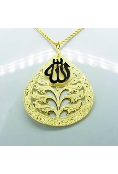 Amelya Gold Cenqz267 Osmanlı Motifli Allah Lafzı Kolye