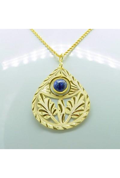 Amelya Gold Dmruy478 Osmanlı Motifli Lapis Kolye