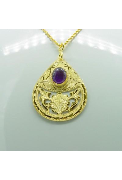Amelya Gold Ghnruvz7 Osmanlı Motifli Ametist Kolye