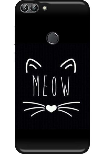Svart Case Huawei PSMART2018 Meow Silikon Telefon Kılıfı