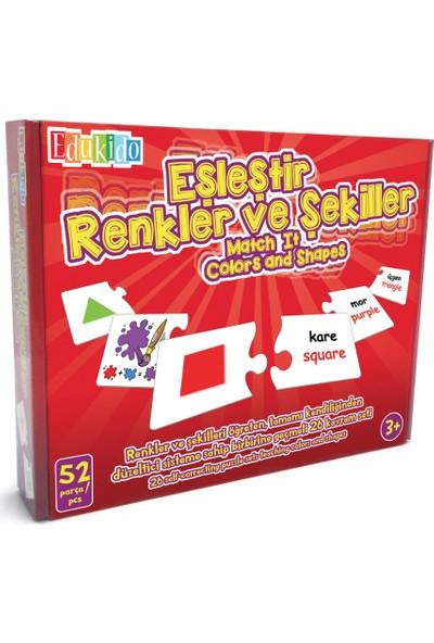 Edukido Eğitici Oyuncak Eşleştir Mukavva Puzzle Renkler ve Şekiller EDU-1001