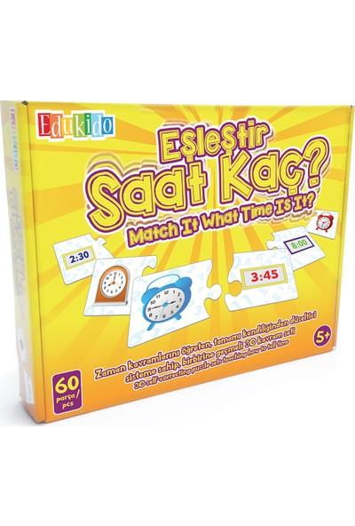 Edukido Eğitici Oyuncak Eşleştir Mukavva Puzzle Saat Kaç Çocuk Kutu Oyun EDU-1016