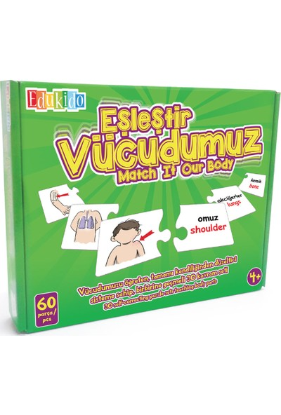Edukido Eğitici Oyuncak Eşleştir Mukavva Puzzle Vücudumuz EDU-1008