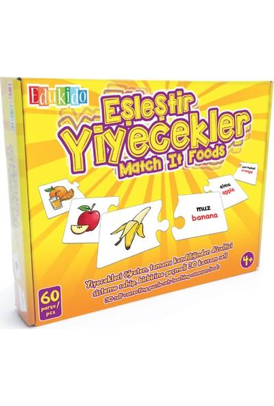 Edukido Eğitici Oyuncak Eşleştir Mukavva Puzzle Yiyecekler EDU-1002