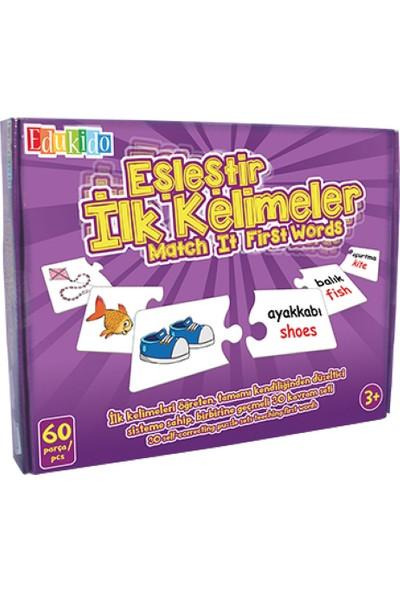 Edukido Eğitici Oyuncak Eşleştir Mukavva Puzzle İlk Kelimeler Çocuk Kutu Oyun EDU-1015