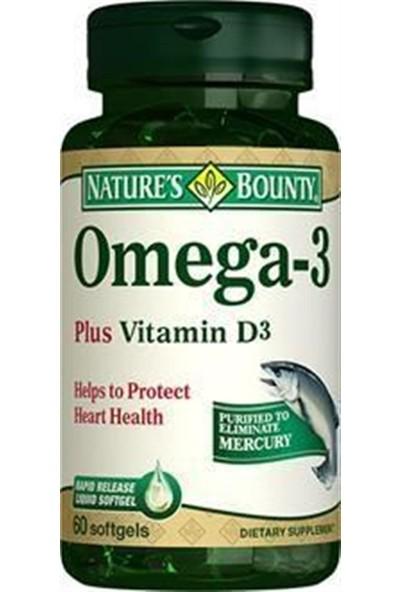 Natures Bounty Omega 3 Plus Vitamin D3 60 Softgels