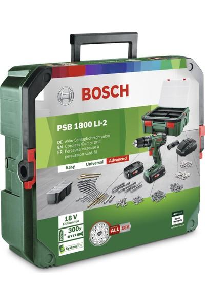 Bosch Psb 1800 Li-2 System Box ve 241 Parça Aksesuarlı Çift Akülü Darbeli Vidalama